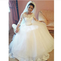 vestidos de novia White Lace Appliques Cheap Wedding Dresses 2017 Lace Up Back 3/4 Sleeves Wedding Gowns robe de mariee
