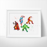 Avengers Superheroes Watercolor Art Print
