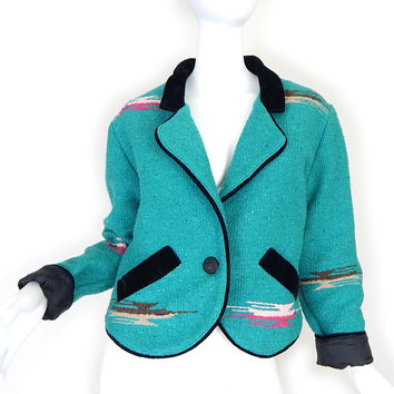 Vintage 80s Turquoise Southwestern Women's Jacket - Size Small - Aztec Print Blanket Jacket in Blue Green with Black Velvet Trim