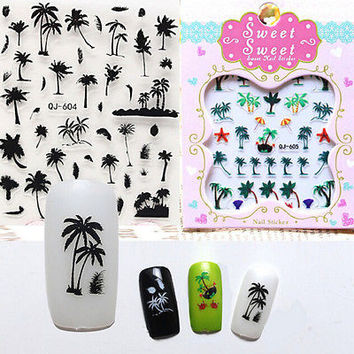 Coconut Tree Water Decals Summer Style Transfer Sticker Anchors Nail Art Xmas HU