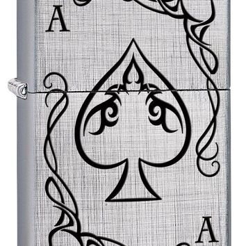 Zippo Custom Lighter: Ace of Spades Playing Card - Linen Weave 78528