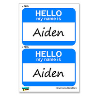 Aiden Hello My Name Is - Sheet of 2 Stickers