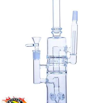 Dual Function Glass water pipes oil rigs with gear perc and pinholes perc thick base