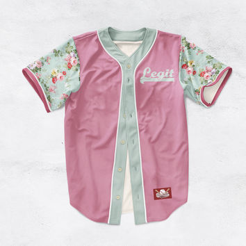 BLUE FLORAL SLEEVES BASEBALL JERSEY