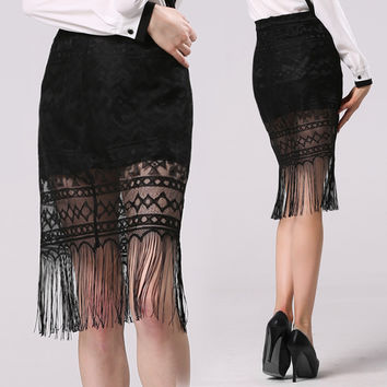 Fringe Bodycon Skirt