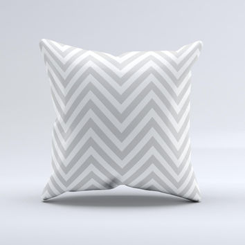 Gray & White Sharp Chevron Pattern Ink-Fuzed Decorative Throw Pillow