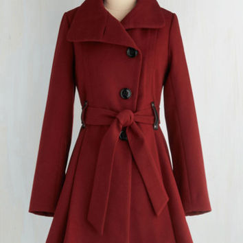 Long Long Sleeve Winterberry Tart Coat in Burgundy