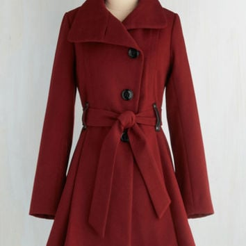 Long Long Sleeve Winterberry Tart Coat in Burgundy by Steve Madden from ModCloth