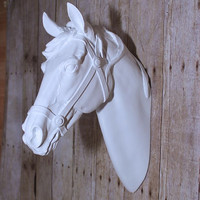 Large horse head // faux head // faux taxidermy // white horse head // white horse // horse decor // equestrian gifts