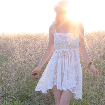 Eco Lace Dress Bohemian Hippie White Crochet by RubyChicOriginals