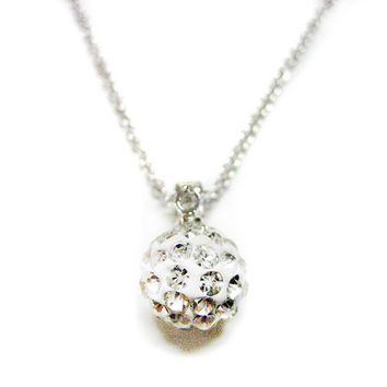 Crystal Studded Ball Pendant Necklace