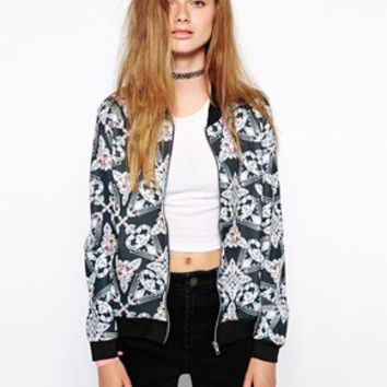 Jaded London Black Diamond Bomber Jacket - Black