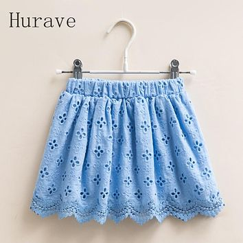 Summer Style Baby Girls Dress Flowers Embroidered Hollow Out Elastic Waist Dress