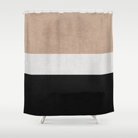 classic - natural, cream and black Shower Curtain by Her Art | Society6