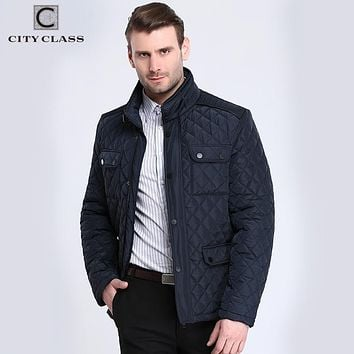 CITY CLASS 2017 Mens Quilted Jacket Multi-Packets Causal Bussiness Style Stand Collar Pilot Jackets and Coats Costume 3850