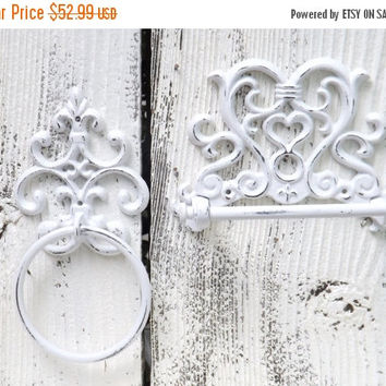 WHITE /  Toilet Paper Holder and Towel Ring / French Cottage / Old World  / Shabby Chic Bathroom