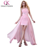 Grace Karin Short Front Long Back Prom Dress  Women Glittering Chiffon Long One Shoulder Pink Prom Dresses