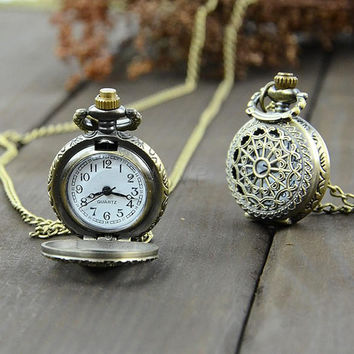 Classic Vintage Clock Locket Necklace Pocket Watch