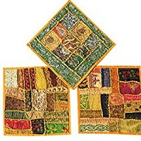 """Set Of 3 Boho Decorative Indian Throw Pillow Cases Cotton Yellow Embroidered Patchwork Cushion Cover 16 """" x 16 """""""