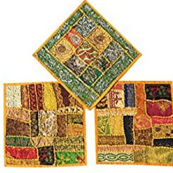 "Set Of 3 Boho Decorative Indian Throw Pillow Cases Cotton Yellow Embroidered Patchwork Cushion Cover 16 "" x 16 """