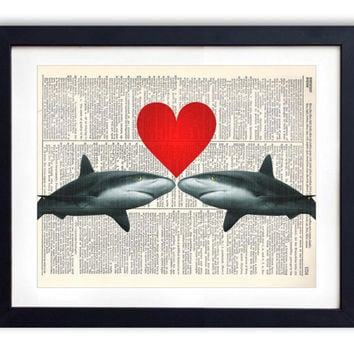 Shark Love Upcycled Dictionary Art Print Repurposed Book Print Recycled Antique Dictionary Page - Buy 2 Get 1 FREE