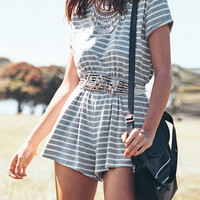 Stripe Backless Romper