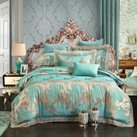 SunnyRain 4-Pieces Jacquard Luxury Bedding Set Queen King Size Bed Set Imitated Silk Cotton Lace Duvet Cover Bed Sheet