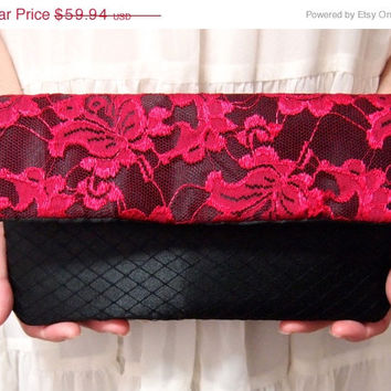 ON SALE Bridal Bridesmaid Clutch - Clutch -  French Veil  - Unique Wedding Clutch Purse - Hot Pink fuchsia  Black Clutch - Formal Prom Clutc