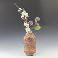 Handmade Ceramic textured wood fired vase