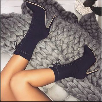 Lace Up High Heel Stretch Mid Calf Boots