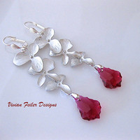 Red Wedding Jewelry Orchid Flower Earrings Ruby Sterling Silver Bridal Bridesmaid Jewelry Christmas Gift