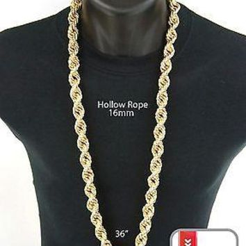 Jewelry Kay style Men's Hip Hop Iced 14K Gold Finish Hollow Chunky Rope Chain Necklace 16 mm 36""
