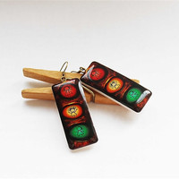 FREE SHIPPING Traffic lights cute earrings, polimer clay earrings, gift under 25