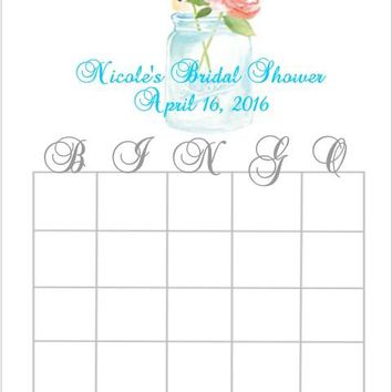 10 Mason Jar Bridal Shower Bingo Cards