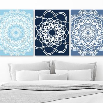 MANDALA Wall Art, Navy Blue Bedroom Pictures, Navy Blue Bathroom Wall Decor, Navy Blue Home Decor Pictures, Set of 3 Mandala Canvas or Print