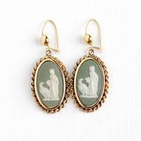 Vintage Rosy Yellow Gold Filled Goddess Hebe & Eagle Cameo Pierced Earrings - Oval Green and White Oval Dangle Drop Greek Mythology Jewelry