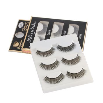 3 Pair/Set 3D Cross Black Thick False Eyelashes Eye Lashes Extension Makeup Super Natural Long Fake Eyelashes