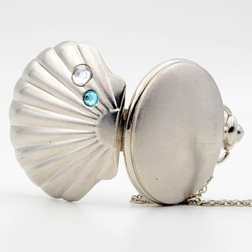 Fashion Cameo Shell Shape Bronze Mussel Oyster Shell Crystal Quartz Pocket Watch Analog Pendant Necklace Womens Lady's Gift