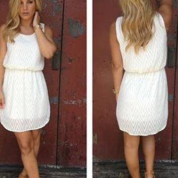White Sleeveless Chevron Textured Dress with Round Neckline