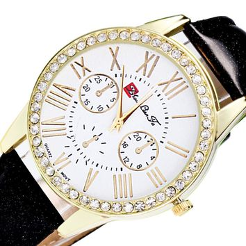 Jewel encrusted Color Male And Female Strap Wrist Watch