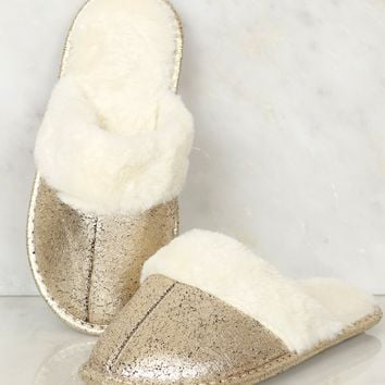 Fur Slippers Gold