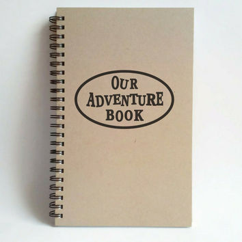 Our adventure book, 5X8 Journal, spiral notebook, bound diary, sketchbook, brown kraft, white, handmade, gift for travelers, World travel