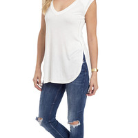 Quilted Cap Sleeve V-Neck Tunic