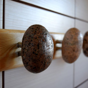 Hook hanger Coat Rack with natural Sea STONES, Hardwood Handcrafted Unique Hanger, Wall mounted solid wood coat rack with Beach Coast Stones