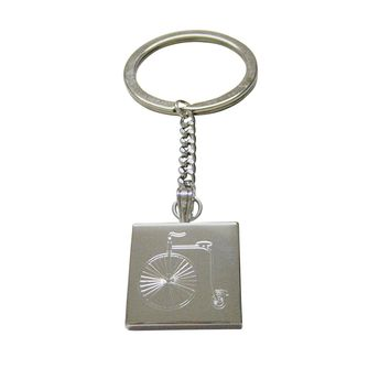 Silver Toned Etched Penny Farthing Bicycle Keychain