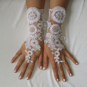 White lace  gloves  free ship wedding prom party 239