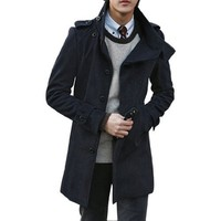 Allegra K Mens Button Epaulettes Long Sleeve 2012 Korea Stylish Coat Dark Blue L - Like Love Buy