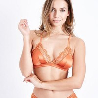 Orange Satin Lace Bralet | New Look