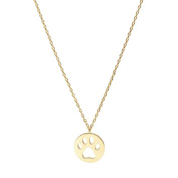 Handcrafted Brushed Metal Cut Out Paw Necklace