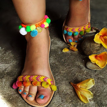 "Bohemian Sandals with Rainbow Pom Pom "" Mimosa"" !!!"